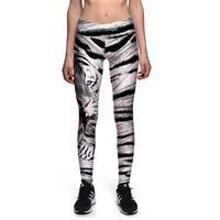 Blanc 3D Tigre Femmes Mince Sexy Leggings Pantalon De Yoga de Remise En Forme Élastique Collants Filles Animaux Conception Taille Haute Lady Gym Pantalon