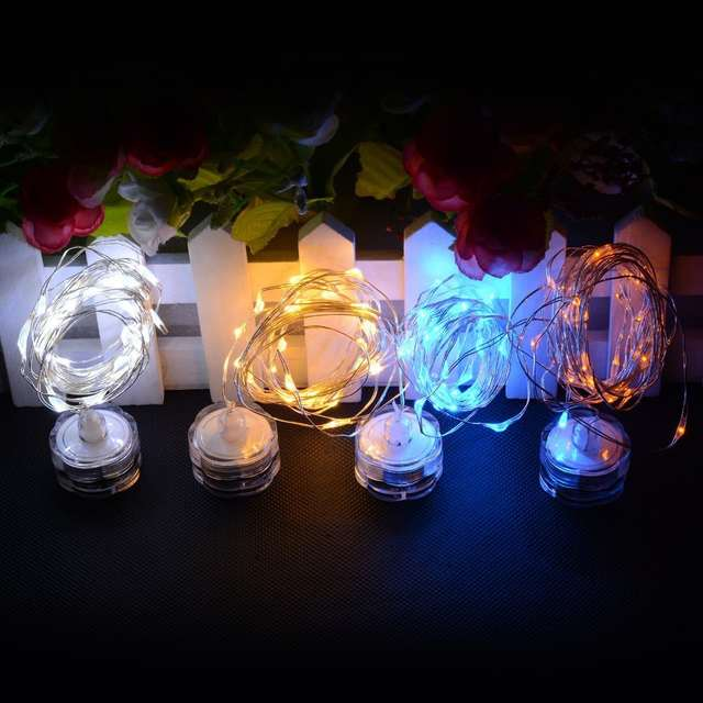 Placeholder 20pcs Fairy Lights Battery Operated 2m 20 Led Rice Submersible For Christmas Table Centerpieces