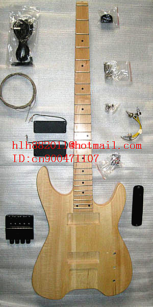 FREE SHIPPING UNFINISHED 4 strings headless ELECTRIC bass GUITAR with black hardware  in natural color without paint +foam box