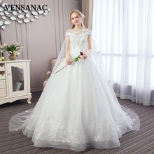 VENSANAC 2018 Crystal Illusion O Neck Sequined Ball Gown Wedding Dresses Lace Butterfly Appliques Sweep Train Bridal Gowns