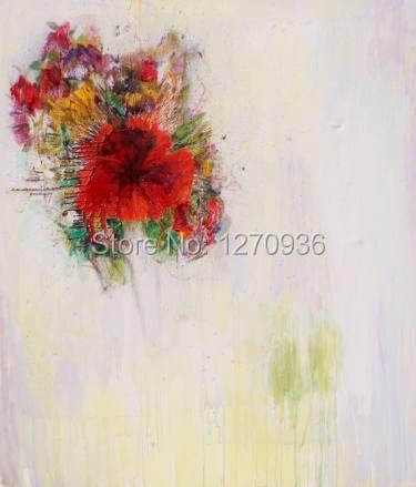Pure peint à la main moderne abstrait belle chaude fleur rouge peinture à l'huile sur toile à la main aquarelle Art accrocher des images acryliques