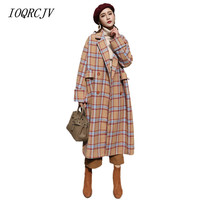2018 Autumn Winter Women Wool Blends Plaid Coats Femal Thick Turn Down Striped Printed Long Loose Fashionable Outerwear S26