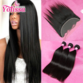 Lace Frontal Closure With Bundles Brazilian Virgin Human Hair Straight 13x4 Ear to Ear Lace Frontal Closure With 3 or 4 Bundles