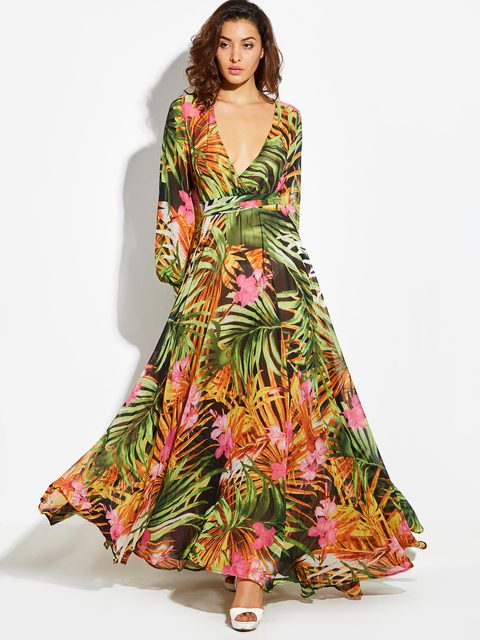 9f7500c4405c2 Women Maxi Dress Summer Yellow Vintage Long Sleeve Plant Print Dress  Tropical Plus Size Boho V Neck Dress Belt Tunic Sun Dresses