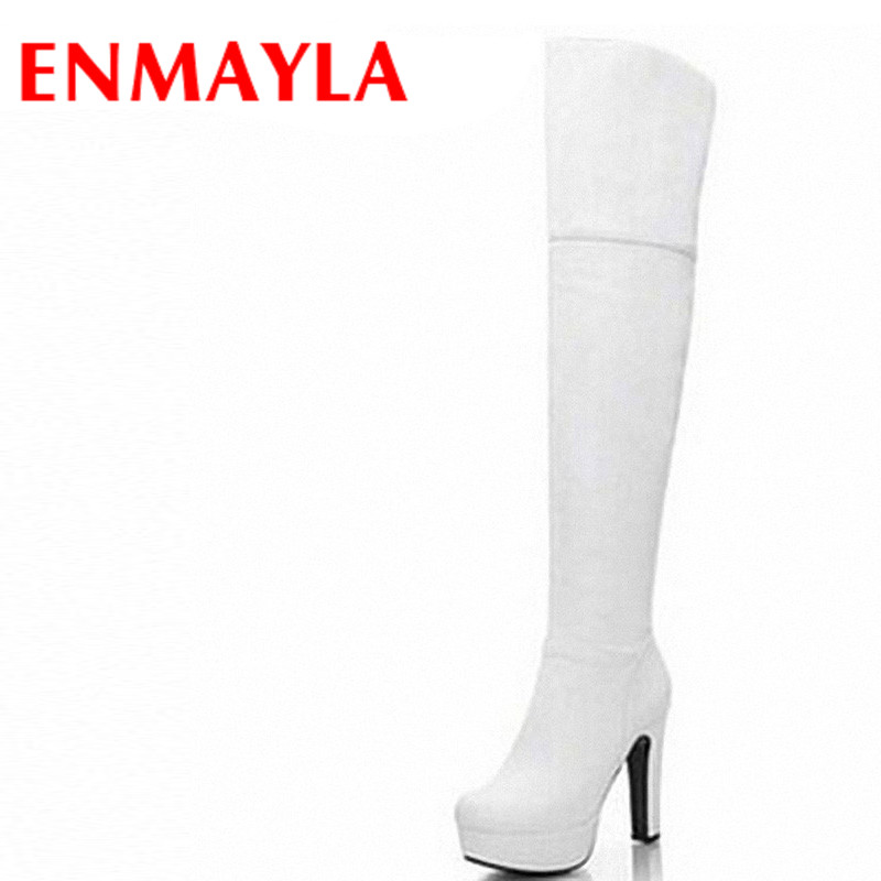 Airfour Sexy Women Over-the-Knee Boots New Square Heel Round Toe High Black White Big Size 43 PlatformWarm Snow Long