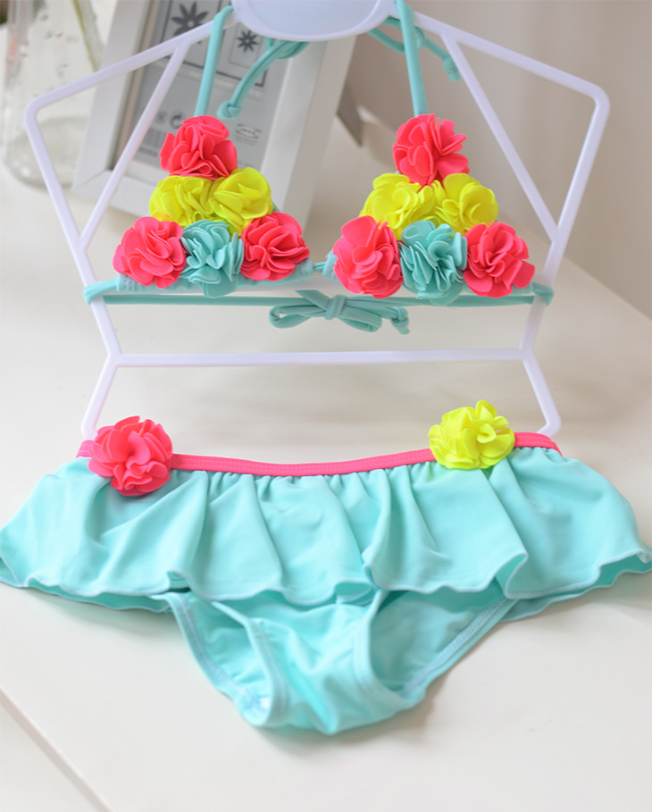 Floral Cute Kids Baby Girl Bikini Sets Swimsuit Swimwear Bathing Suits Toddler Swimming Costume Kids Two-pieces Beach Biquini