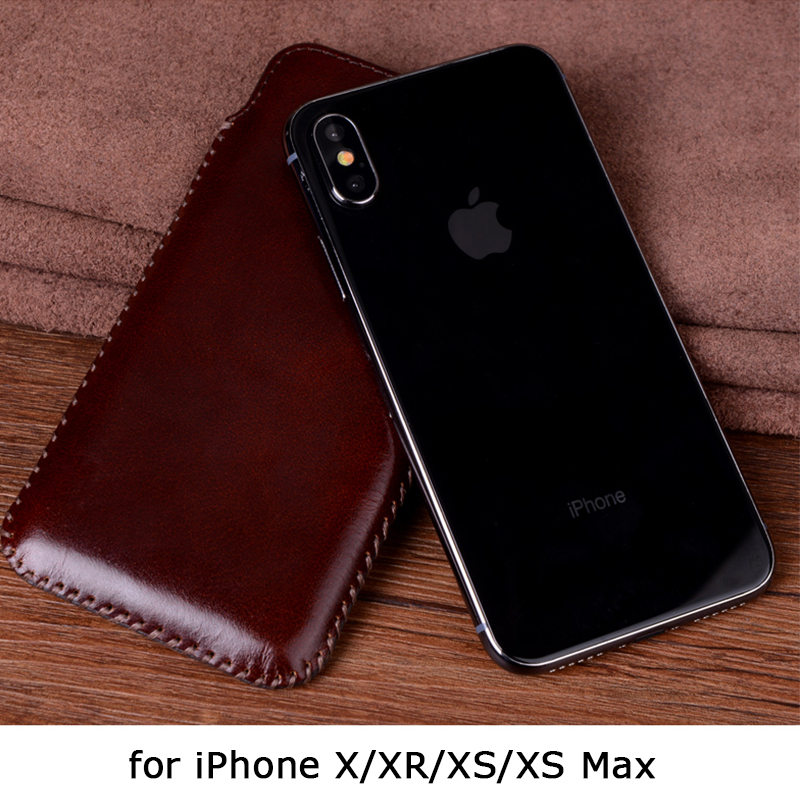Téléphone Pochette pour iPhone XS Max Cas + Trempé Protecteur D'écran En Verre pour iPhone XS Véritable Couverture En Cuir pour iPhone XR iPhone 9