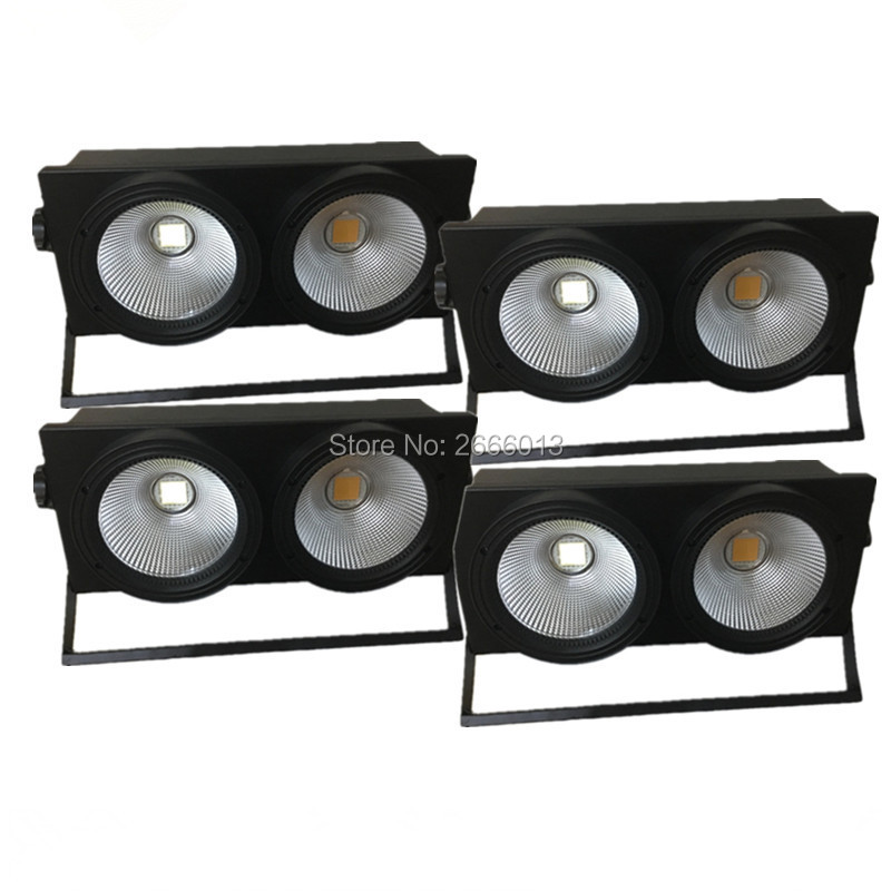 4pcs/lot Professional 2x100W LED Audience Blinder Light 2 Eye COB LED Wash Light High Power 200W DMX Stage Lighting COB Lamps 2pcs lot 2 eyes 2x100w led cob light dmx512 stage lighting effect warm white and cold white 200w led blinder light fast shipping
