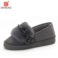 IAHEAD Women Slippers Winter Shoes Plush Home Shoes Brand Warm Shoes New Super Slippers Flock Flats Shoes UPC337