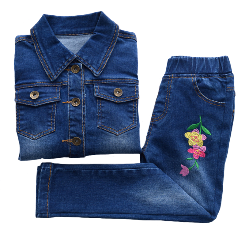 Children's Sets Spring Floral Girls Denim Jacket+jeans 2pcs Set Autumn Embroidered Single Breasted Casual Clothing for 2y-7y high waist single breasted denim jeans women spring pants plus size jeans casual elastic pencil pants women s clothing trousers