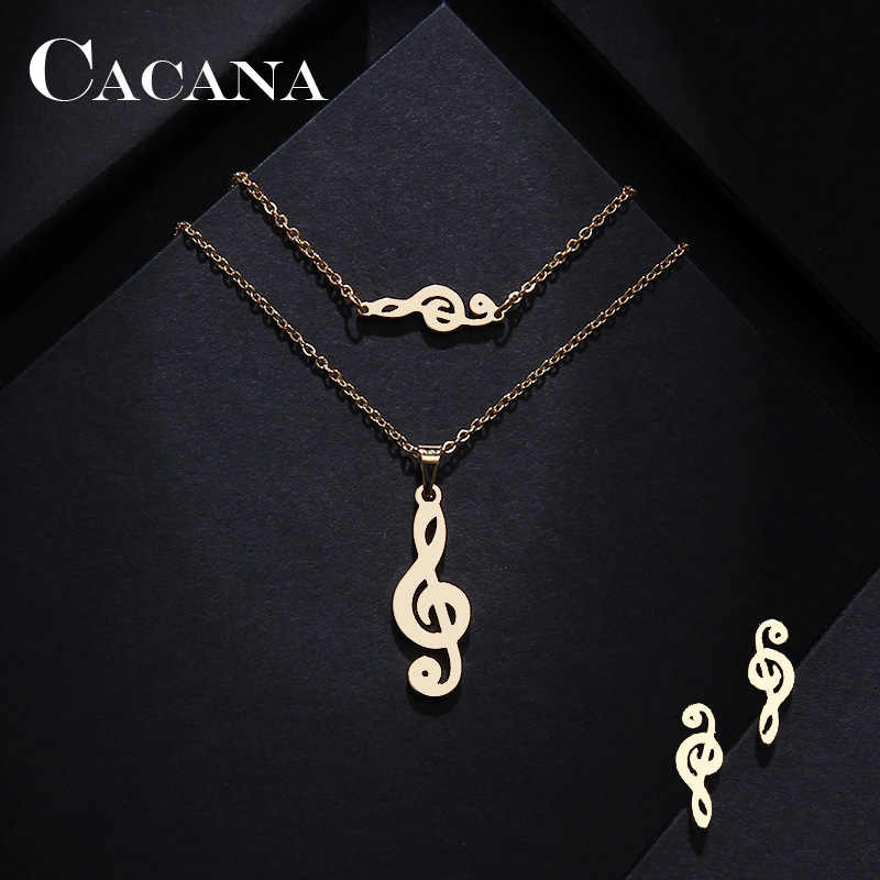 CACANA Stainless Steel Sets For Women Music Shape Necklace Bracelet Earring Jewelry Lover's Engagement Jewelry S541