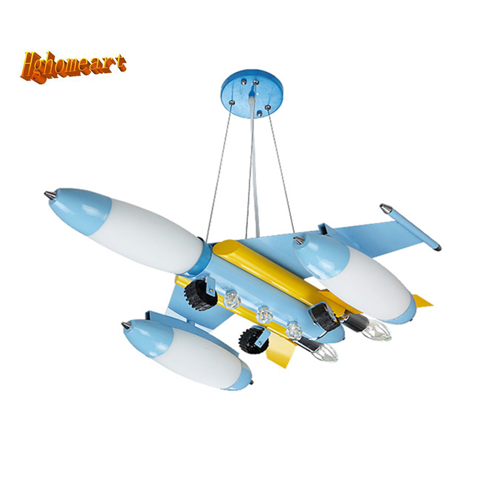 HGhomeart Boy Room Iron Aircraft Led Pendant Lights 110V-220V E14 LED Lamp Kids Loft Lamps Light Fixtures Led Pendant Lamp hghomeart kids led pendant lights basketball academy lights cartoon children s room bedroom lamps lighting