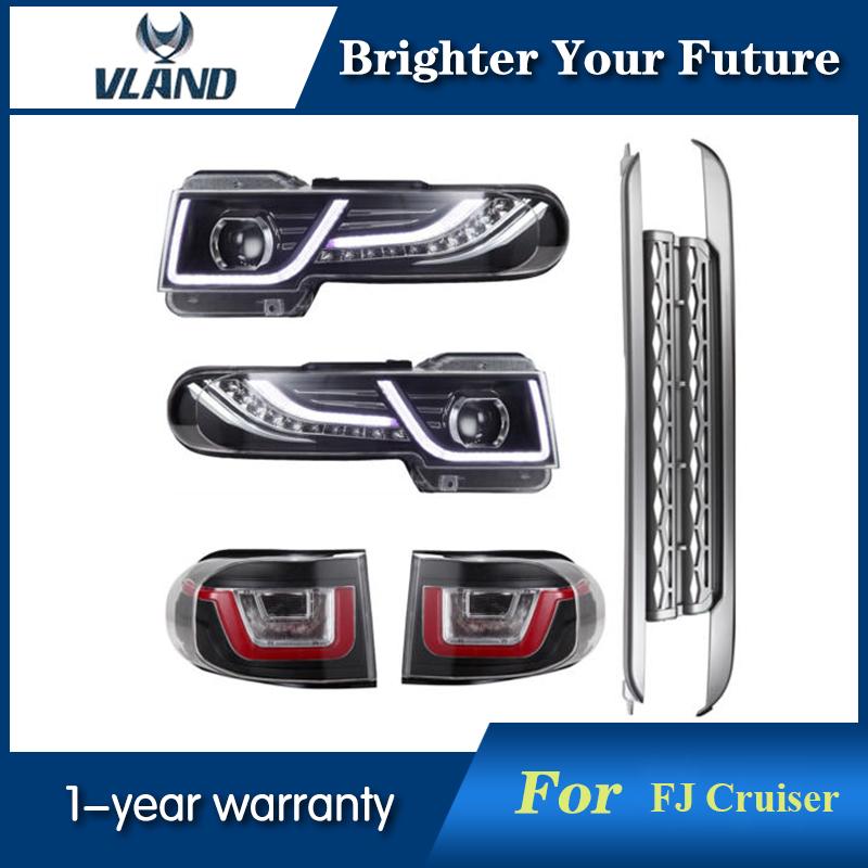 Vland Car styling For Toyota FJ Cruiser 2007 2014 LED Headlight Halo HID Lamp + Tail Lights + Grille