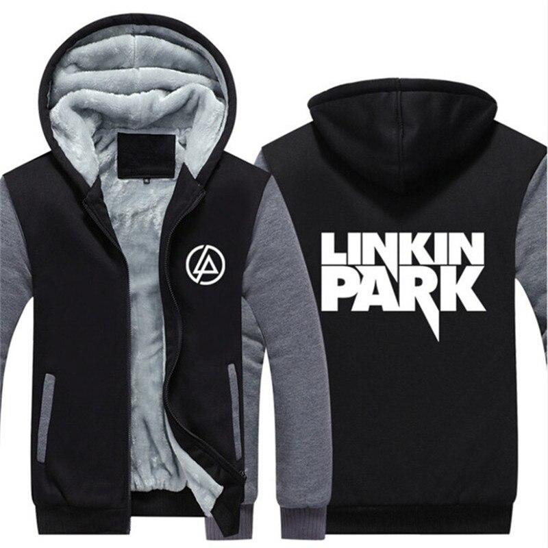 USA SIZE Rock Band Linkin Park Hoodie Men's Hoodies Sweatshirts Winter Warm Zipper Coat Men Jackets Oversize Thicken Fleece Tops