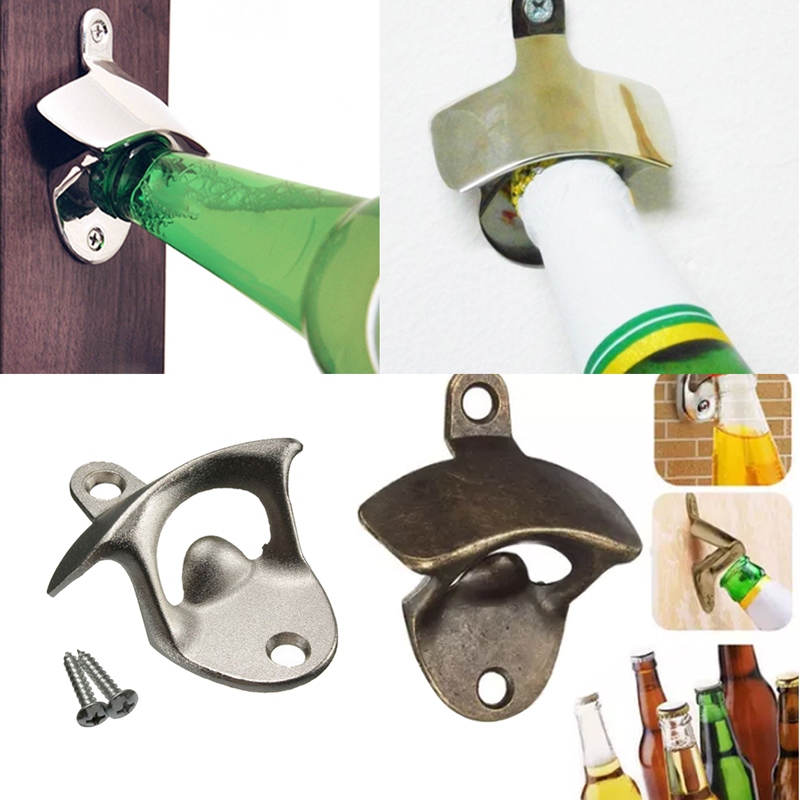 Vintage Bottle Opener Wall Mounted Wine Beer Opener Zinc Alloy Bottle Beer Openers For Kitchen Bar Accessories Destapador
