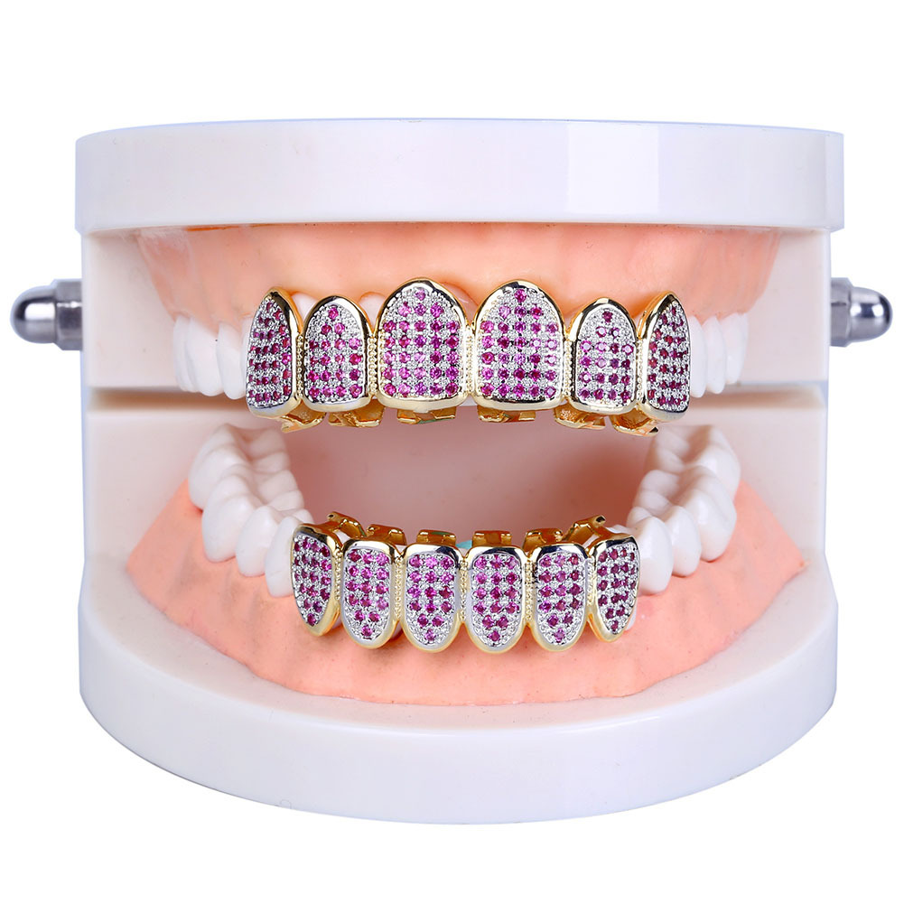 Hip Hop Iced Out Gold Teeth Grillz Top & Bottom Grills Rhinstone Rose Red Zircon Punk Teeth Cosplay Party Tooth Jewelry Gift topgrillz hip hop grillz iced out aaa zircon fang mouth teeth grillz caps top