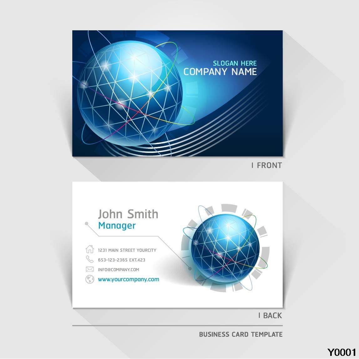 excellent modern business card blue global paper card template Y0032 ...