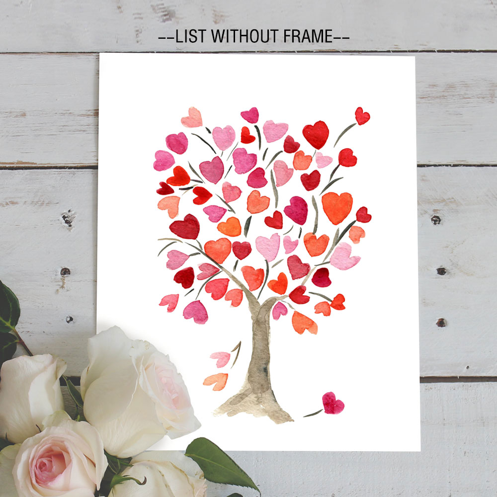 watercolor heart love tree poster art print drawing sweet tree