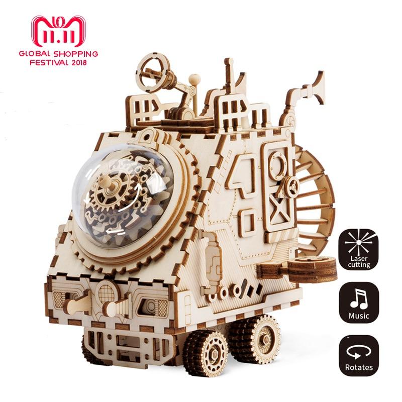 Robud BRICOLAGE Créatif 3D Vaisseau Spatial En Bois Jeu de Puzzle Assemblée Boîte à Musique Jouet Cadeau pour les Enfants Adolescents Adulte AM681