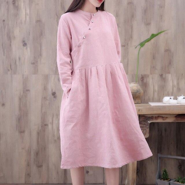dd8ff7544be Classic Brief Slant Buttons Jacquard Large Hem Cotton Linen Dress ...