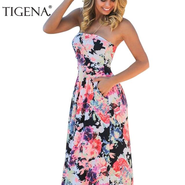 03761bbef3 TIGENA Women Summer Long Dress 2018 Summer Sundress Tunic Backless  Strapless Floor Length Maxi Boho Beach