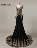 Plus Size Long Evening dresses 2019 Black with Gold Appliques Beads Mermaid Wedding Party Gown Maid of Honor Long Prom Gown
