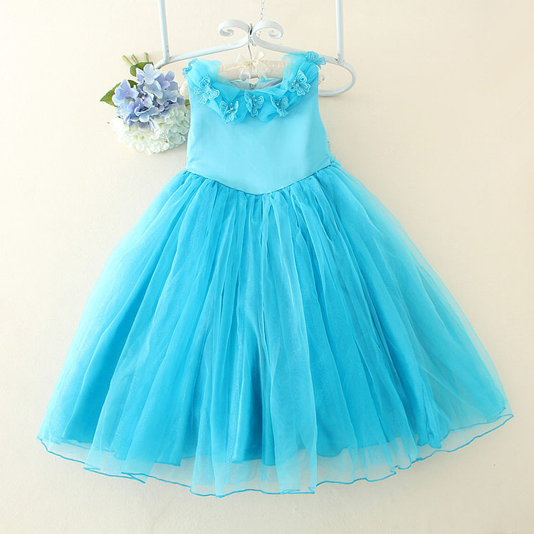 2017 New Blue Cinderalla Princess Girls Dress Flower Girl Vestidos Kids Formal Wedding Birthday Clothes For Party SKF154005 2017 brand new halter design princess flower girl dress white vestidos for wedding children clothes for party skd014257