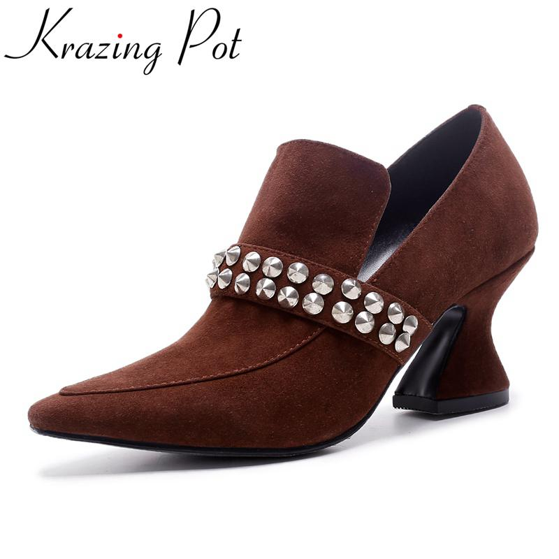 Krazing Pot fashion brand shoe kid sude high heels slip on rivets women pumps pointed toe concisel sexy runway wedding shoes L37 krazing pot new fashion brand shoes square toe shallow women pumps metal strange high heels slip on causal office lady shoe 02