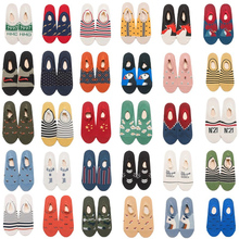 Men spring&summer cotton boat socks fashion trend sports digital letters cartoon animals happy invisible funny