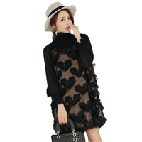 WAEOLSA Fashion Woman Black Dress Turtle Neck Oversized Dress Chiffon Sleeve Loose Fitting Dresses Women Spring