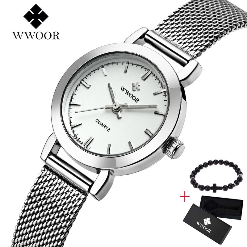 Reloj de cuarzo de acero inoxidable ultra delgado de WWOOR Reloj de - Relojes para mujeres