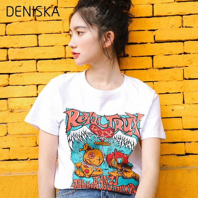 0485dce8 DENISKA Harajuku Fashionable Letter Print Cotton T Shirt Women Streetwear Graphic  Tee Shirt Femme Short Sleeve Summer Tops 2018