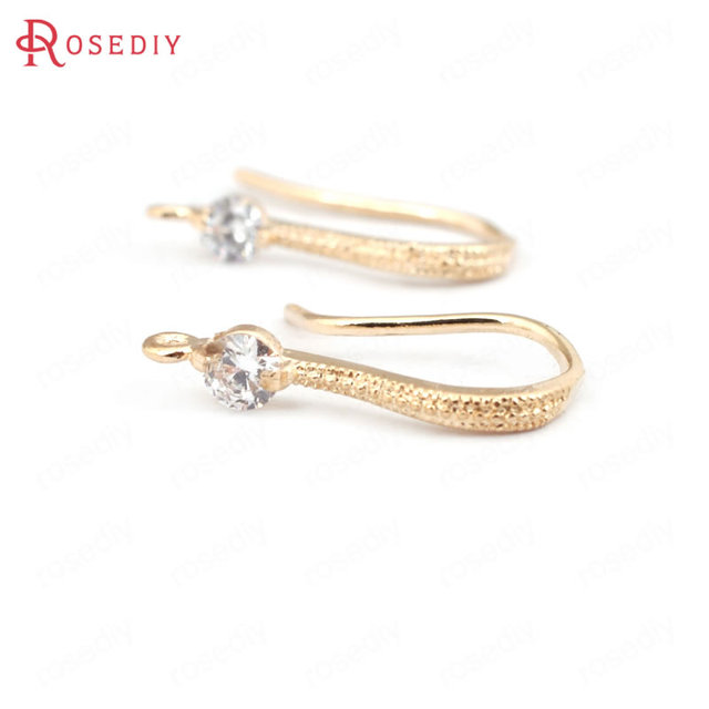 (31618)6PCS Height 17MM 24K Champagne Gold Color Plated Brass with Zircon Earrin