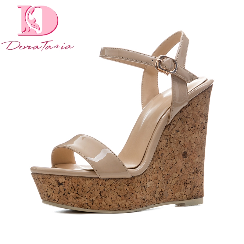 DoraTasia New Size 34-41 Sexy Platfrom Party Shoes Woman Brand Wedges High Heels Ankle Strap Gladiator Summer Sandals Shoes phyanic 2017 gladiator sandals gold silver shoes woman summer platform wedges glitters creepers casual women shoes phy3323