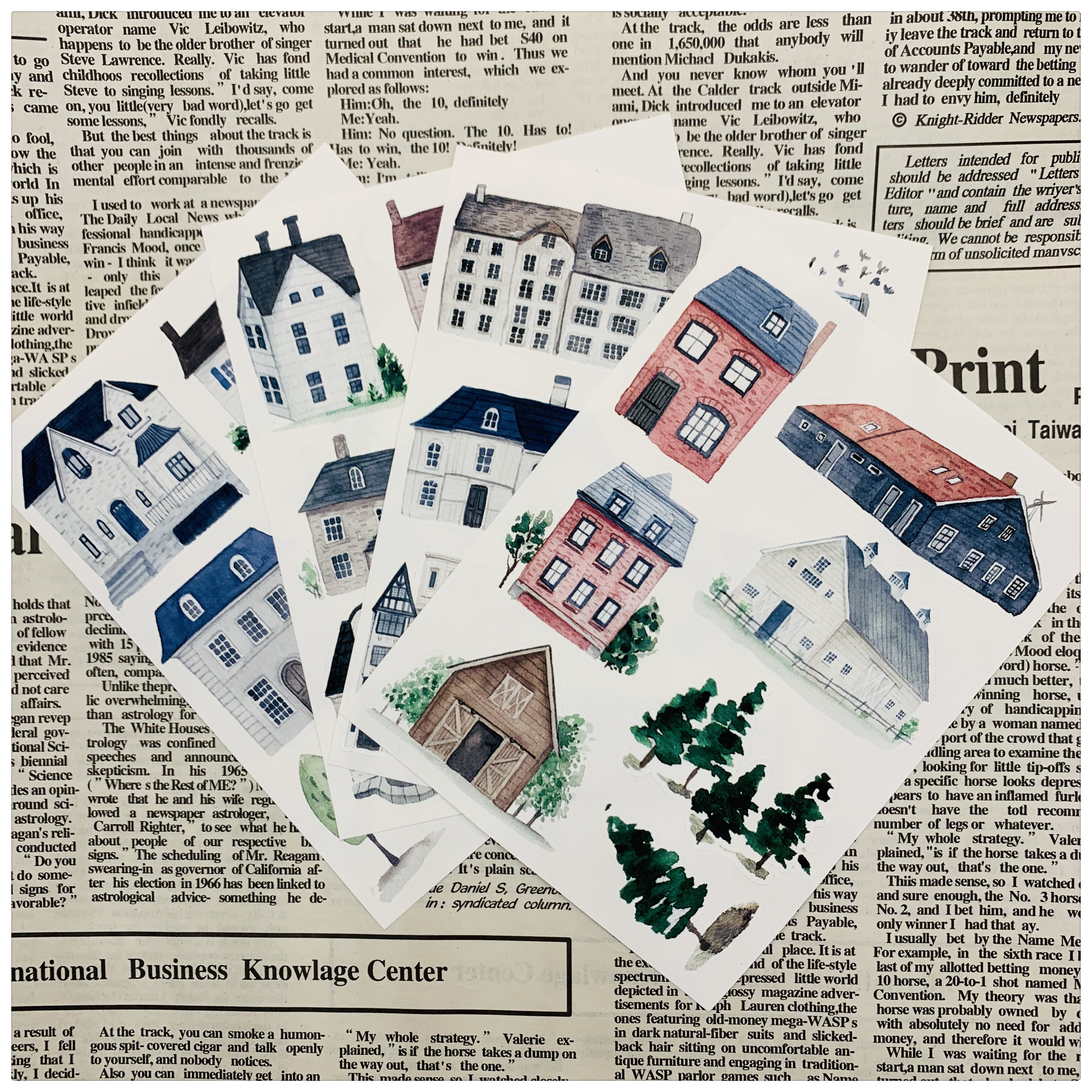 40pcs  Simple Architecture And Lovely House Decoration Stationery Sticker Diy Diary Scrapbooking Label Sticker Stationery