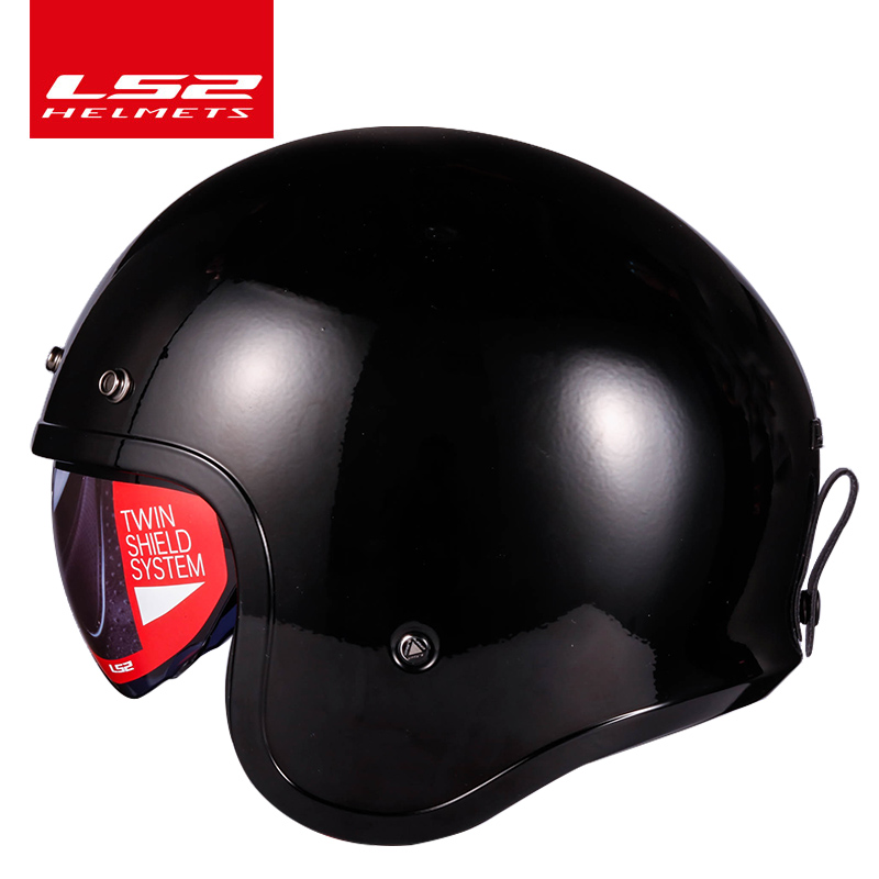 цена на LS2 Spitfire motorcycle Vintage helmet Open face fashion design retro jet half helmet LS2 OF599 casque moto with bubble buckles