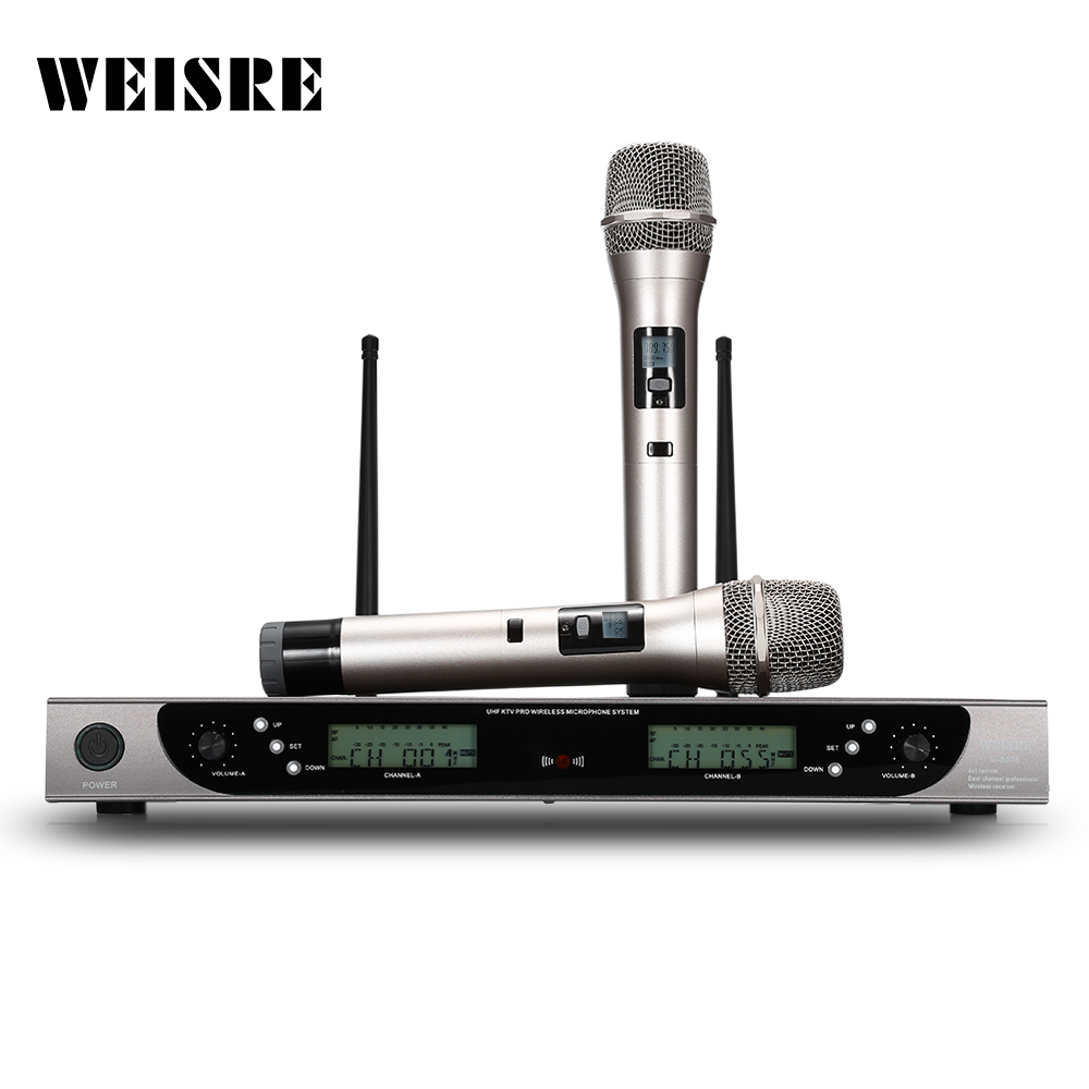 WEISRE U-8008 Wireless UHF Microphone System Handheld Mic for Home KTV 2 Channels Karaoke Wireless Microphone with Two Stand free shipping derrica u 1188 professional uhf wireless microphone karaoke system with u 188 handheld transmitter microfone mic page 7