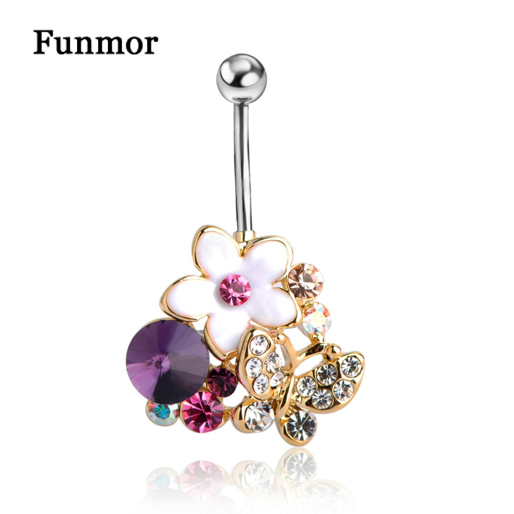 Gold Violetta Enamel Body Piercings Navel Flower Belly Rings Bikini Jewelry Pircing Belly Button Rings Decoration For Navel Punk