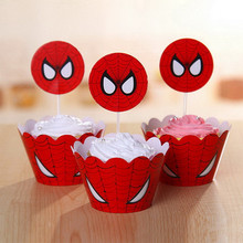spiderman cupcake toppers avengers party supplies baby kids children birthday cake decoration superhero wrappers