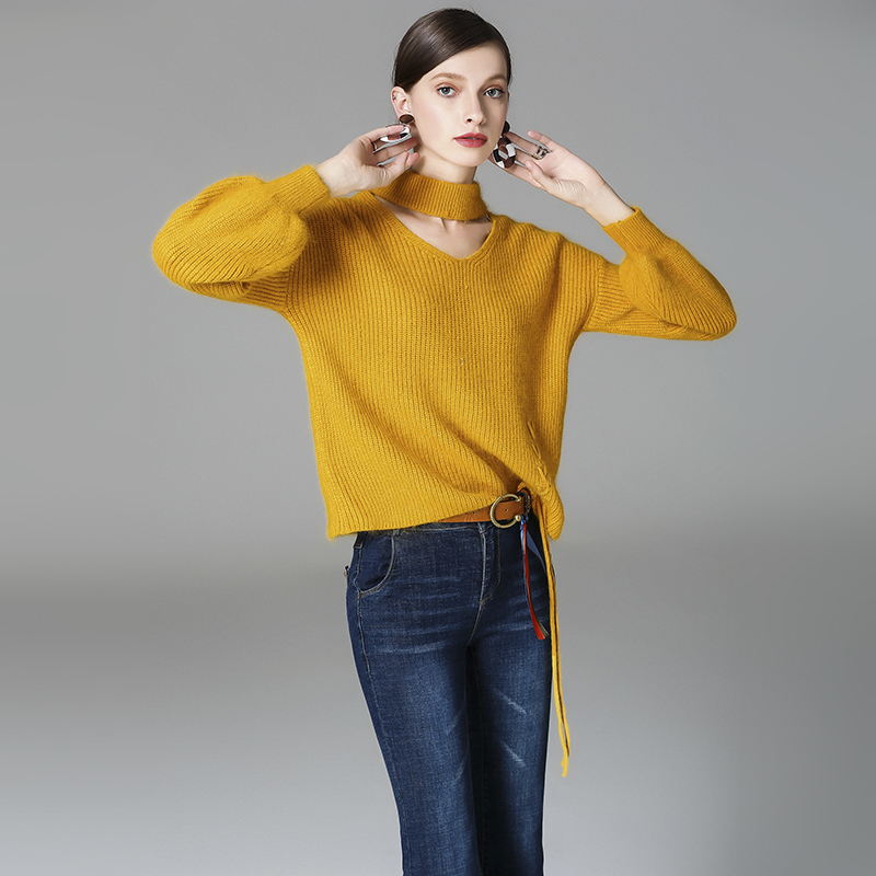 Women Sweater 2017 Autumn Winter New Merino Wool Pullovers V-Neck Full Lantern Sleeve Office Lady Feminina Knitwear ANS588