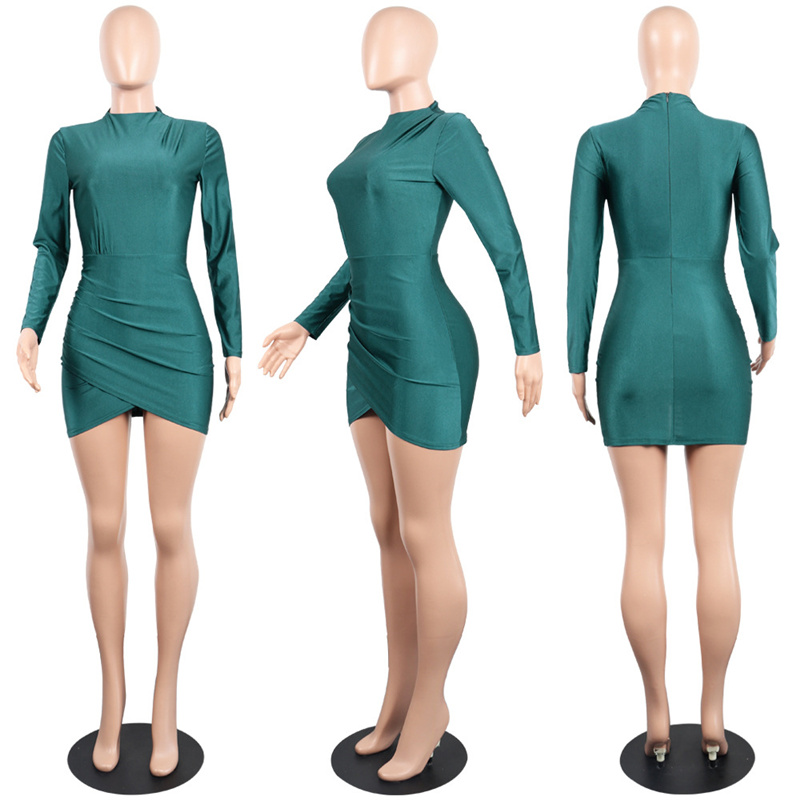 PinePear Pleated Dress | Long Sleeve Draped Mini Dress 3