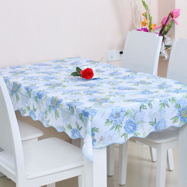 Pastoral Simple Plastic Tablecloths Table Dining Table Mats Oil Resistant  European Style Square Table Cloth