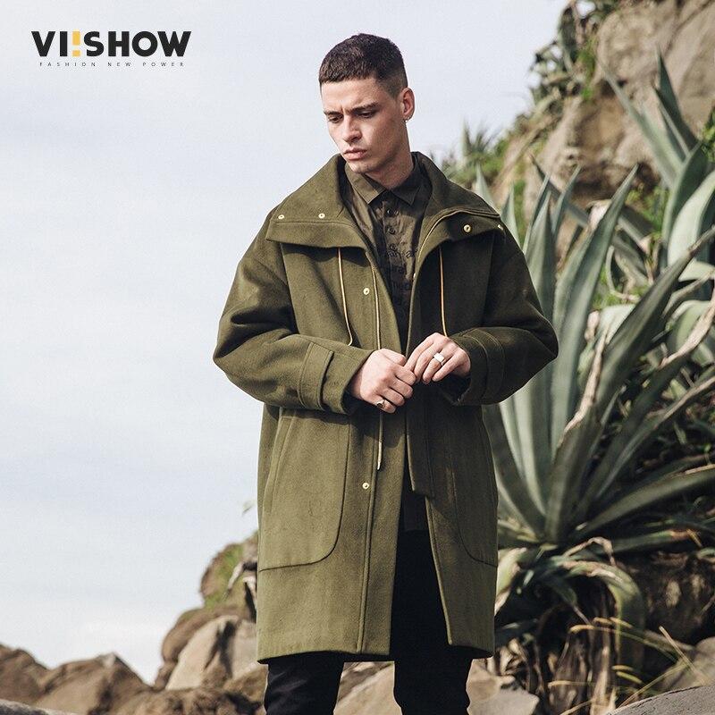 VIISHOW Nouvelle Longue Tranchée Manteau Hommes 2017 Mode Gabardina Larga Hombre Marque-Vêtements Erkek Mont Vert Armée Hommes Pardessus FC212817