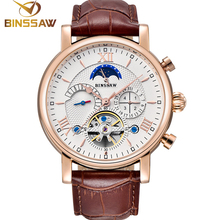 BINSSAW Mens New Automatic Mechanical Tourbillon Watches Brand Fashion Sports Leather Waterproof Male Watch Relogio Masculino