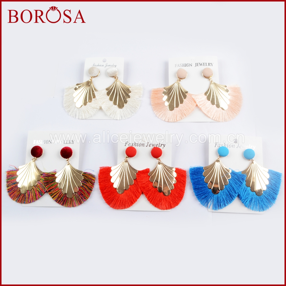 BOROSA 15Pairs Big Tassel Drop Earrings Jewelry For Women Girls Fringe Handmade Colorful Bohemia Dangle Earrings as Gifts WX1008