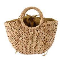 Fashion Moon Bag Tote Fresh Yellow Grass Straw Braided Natural Rattan Bags Semi-circle Handbag Hand Woven Summer Beach