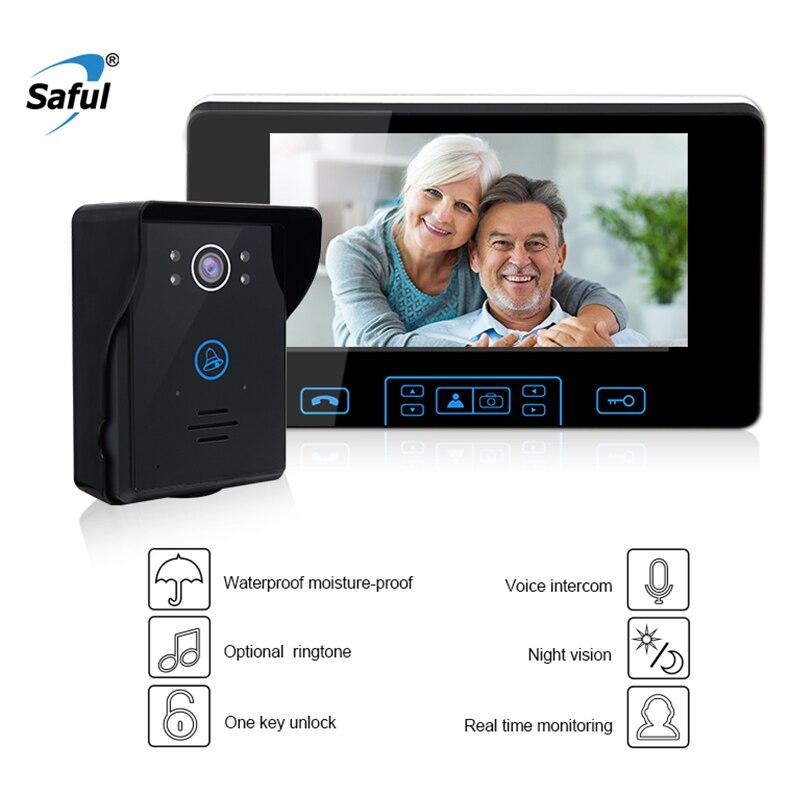 Saful 7 Sans Fil Vidéo Porte Cloche Interphone Système étanche porte vidéo téléphone caméra accueil interphone avec 1 Moniteur Sonnette caméra