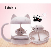 Behokic 250ml 8oz Cute Monkey Cat Novelty Glass Tea Mug Coffee Cup Water Bottle Infuser Strainer