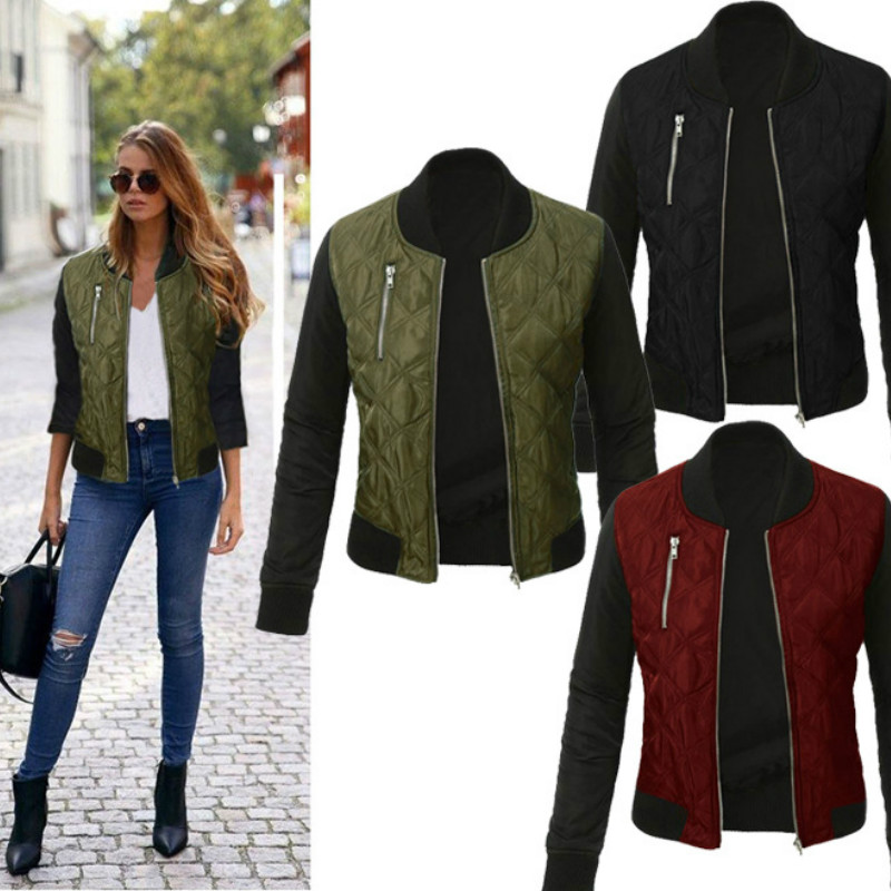 Chic Women Bomber Stand Collar Casual Short Quilted cotton   Jacket   Coat Long Sleeve Outwear Zipper Up Coat Slim   Basic     Jacket   Tops