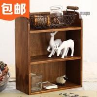 Zakka Desktop Three Layer Storage Cabinet Wood Wall Cosmetic Shelf Display Cabinet